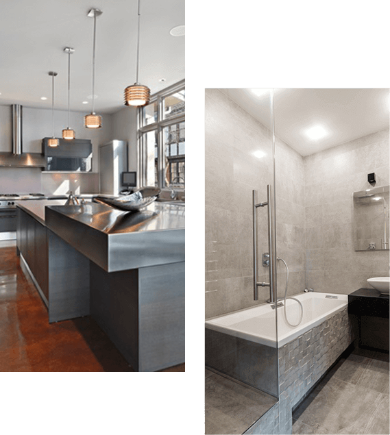Rittenhouse Square apartment kitchen with island proposed design; proposed bathroom design with tub and shower